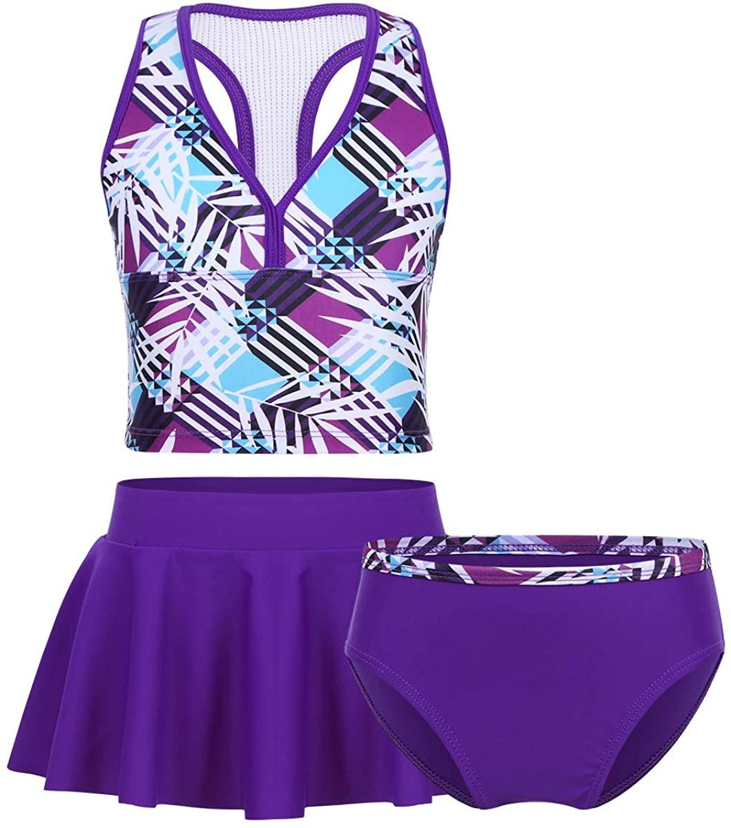 JEATHA Kids Girls 3PCS Tankini Bikini Swimsuit Digital Printed Sports Racer Back Top with Bottom Skirt Sets Swimwear
