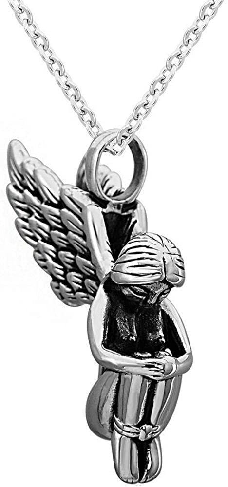 caipingbaihuodian Angel Necklace Silver for Women Men Retro Stainless Steel Charm Angel Pendant Necklace