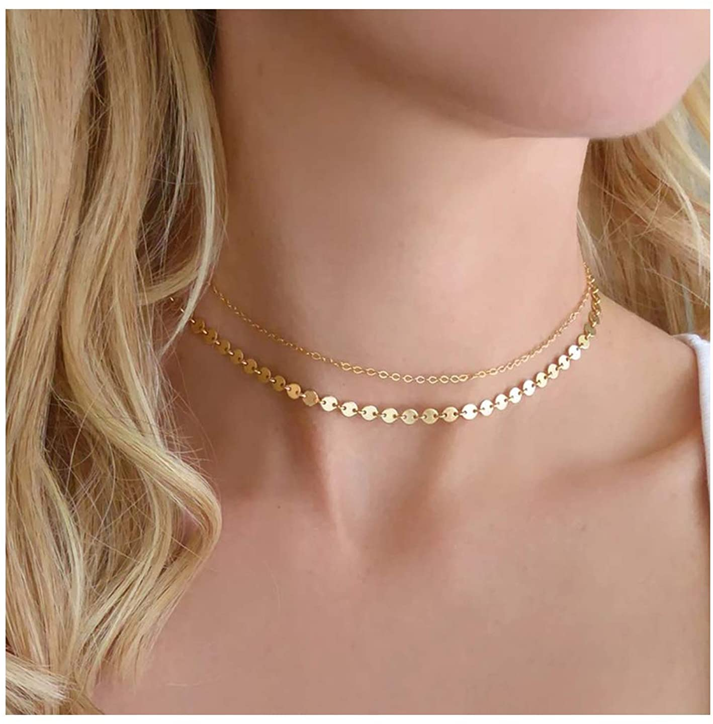 Dainty Coin Chokers Necklace Layered Disc Choker Necklace S925 Sterling Silver Star Circle Bar Pendant Necklace for Women 14K Real Gold Plated