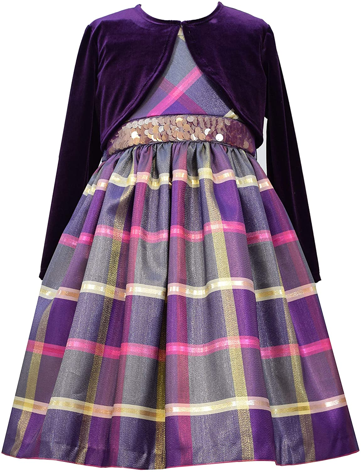 Bonnie Jean Girl's Holiday Christmas Dress 7-16 - Purple Plaid with Cardigan