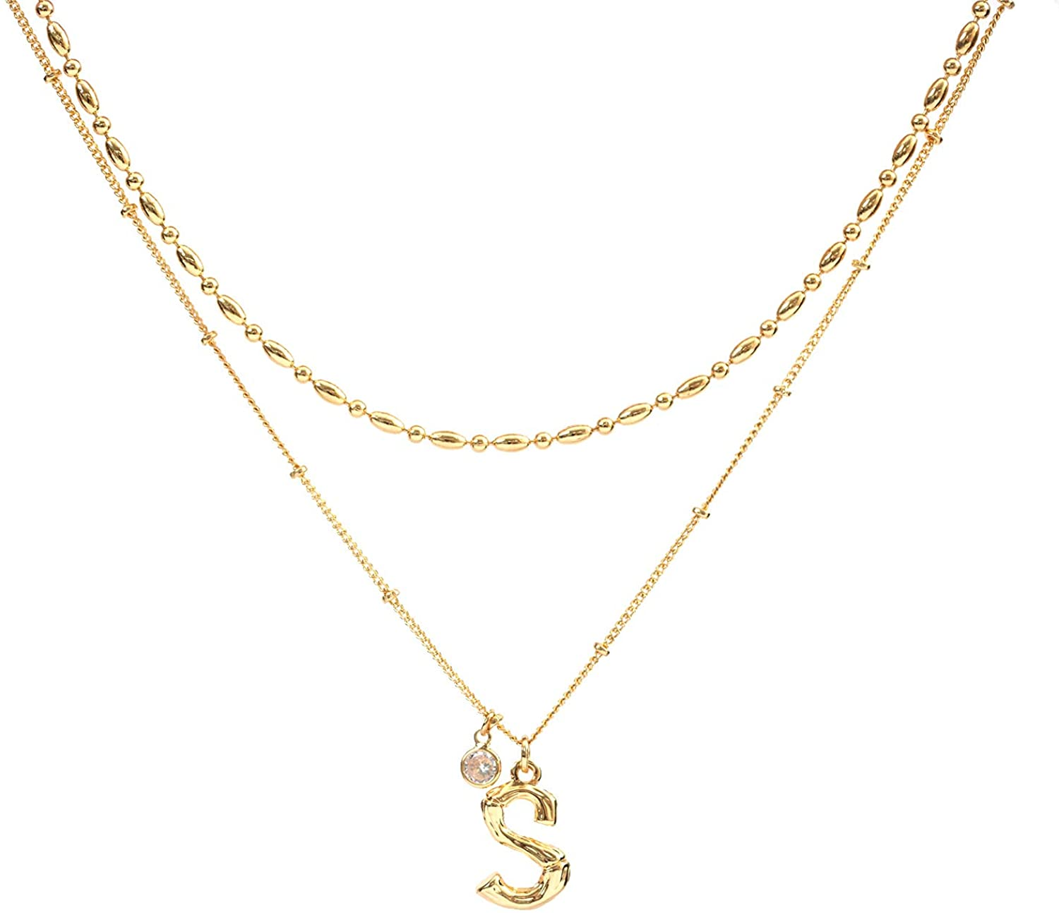 PESMES Layered Initial Necklaces 14K Gold Plated Bamboo Letter Necklace, Cubic Zirconia Beaded Chain Choker Set, Dainty Gold Letter Necklaces for Women