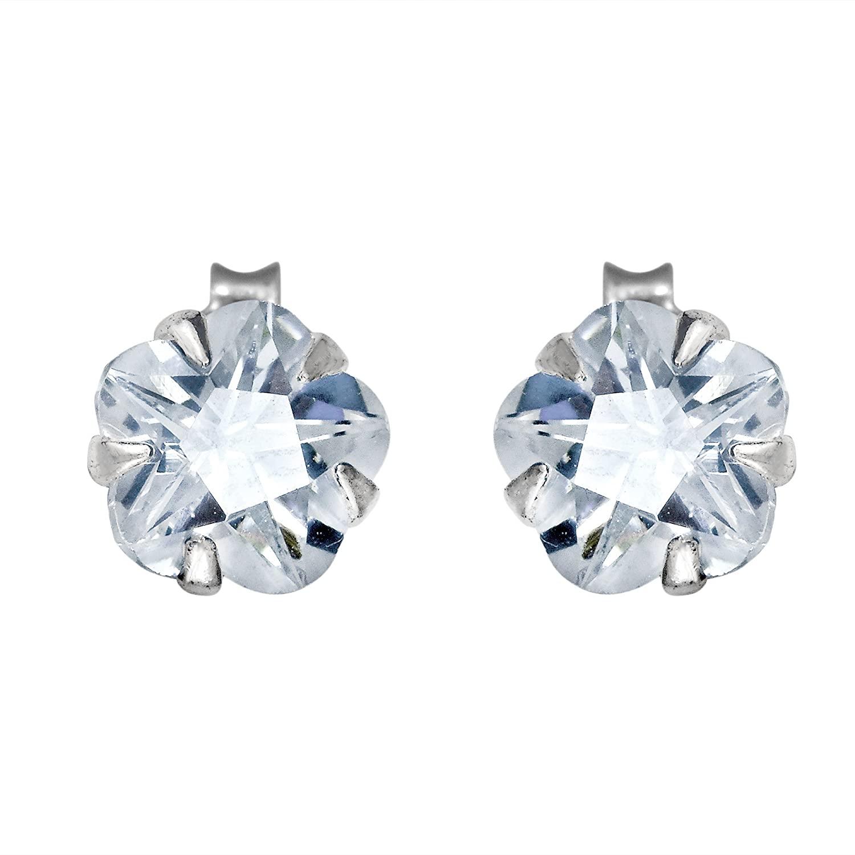 Sparkling Cubic Zirconia Flower .925 Sterling Silver Stud Earrings