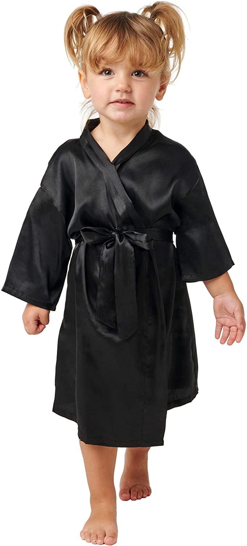 Alexander Del Rossa Girls Satin Robe, Silky House Coat, 4T Black (A0449BLK4T)