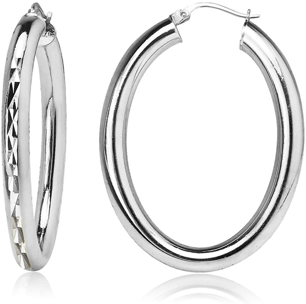 Sterling Silver 4mm Oval Diamond-Cut Hoop Earrings, Choose Size and Color
