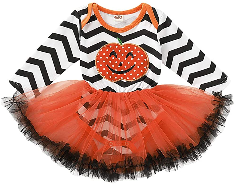 Newborn Baby Girl Halloween Costume Long Sleeve Pumpkin Romper Dress Striped Tutu Skirt Party One-Piece Outfit (White+Black+Orange, 12-18 Months)