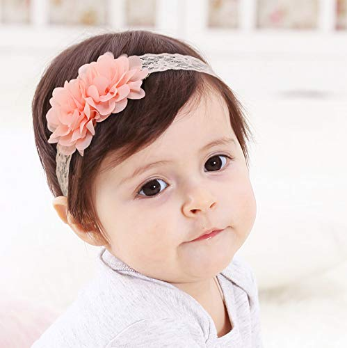 Kercisbeauty Baby Girls Pink Bows Headband Lace Flower Headwear for Toddler Babies Elastic Adjustable Head piece Wreath Halloween Holiday Sunday Headband (Orange)