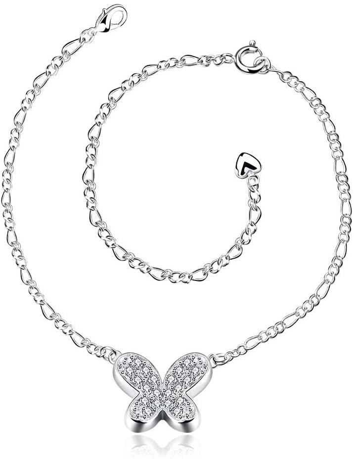 Fajewellery Zircon Butterfly Charm Adjustable Chain Silver Plated Ankle Bracelet for Women