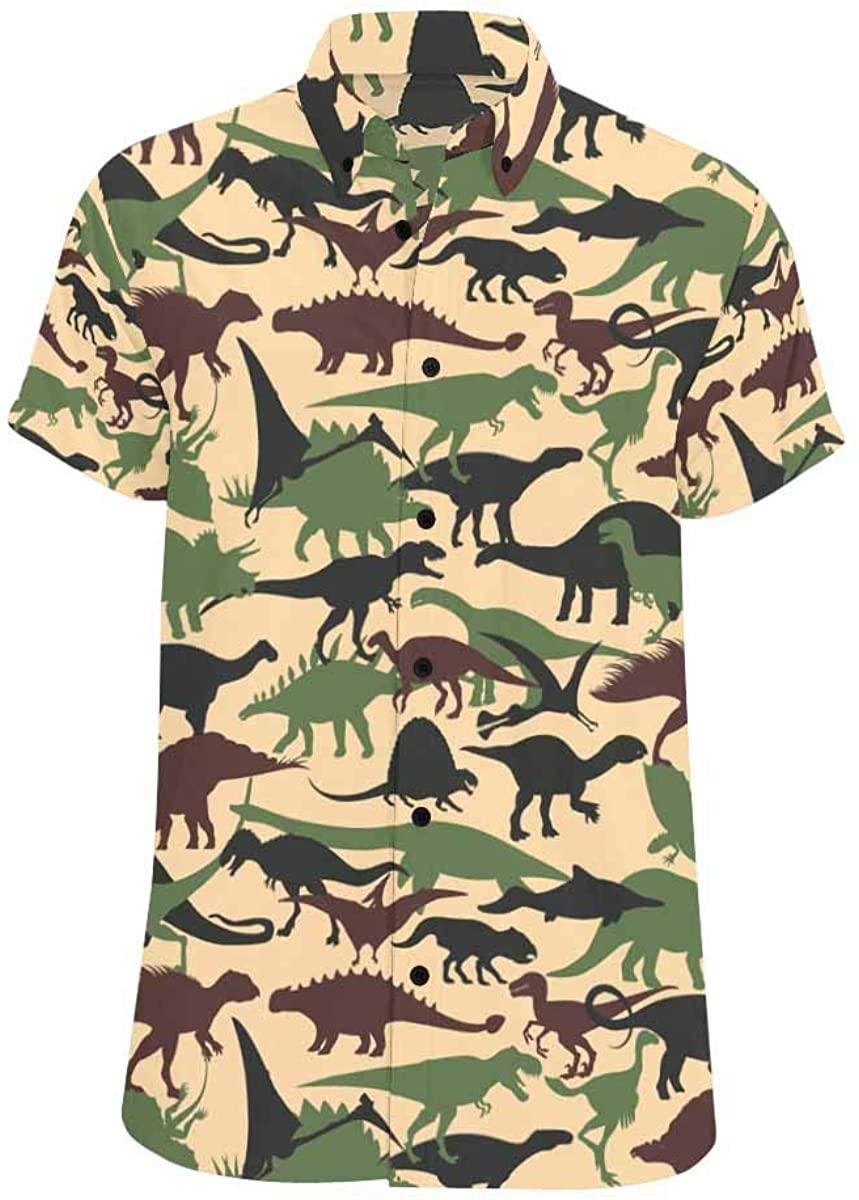 INTERESTPRINT Summer Button Up Dinosaurs Short Sleeve Regular Fit for Men