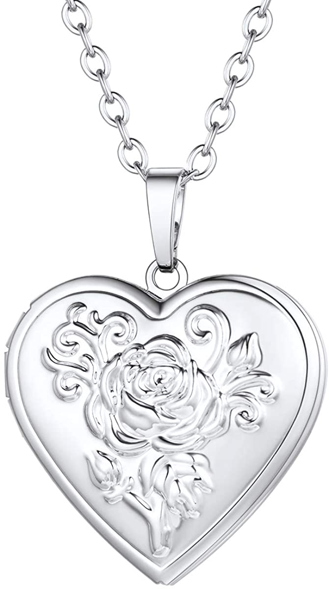 FOCALOOK Love Heart Locket Necklace That Holds Pictures Flower Lockets Necklaces Pendant 18K Gold Plated Gifts for Women Girl