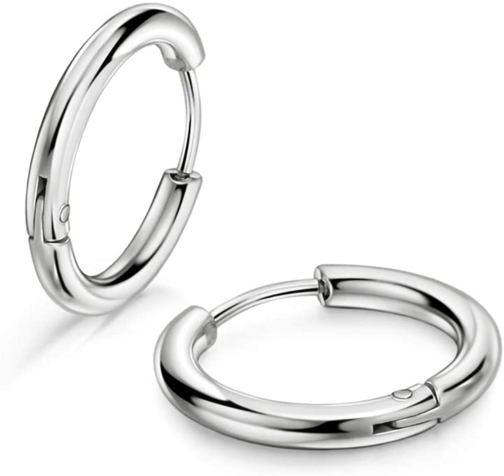 316L Surgical Stainless Steel Huggie Hoop Earrings 8mm/10mm/12mm/14mm/16mm/18mm/20mm Cartilage Helix Lobes ​Daith Conch Rook Septum Rings Ear Piercing Jewelry