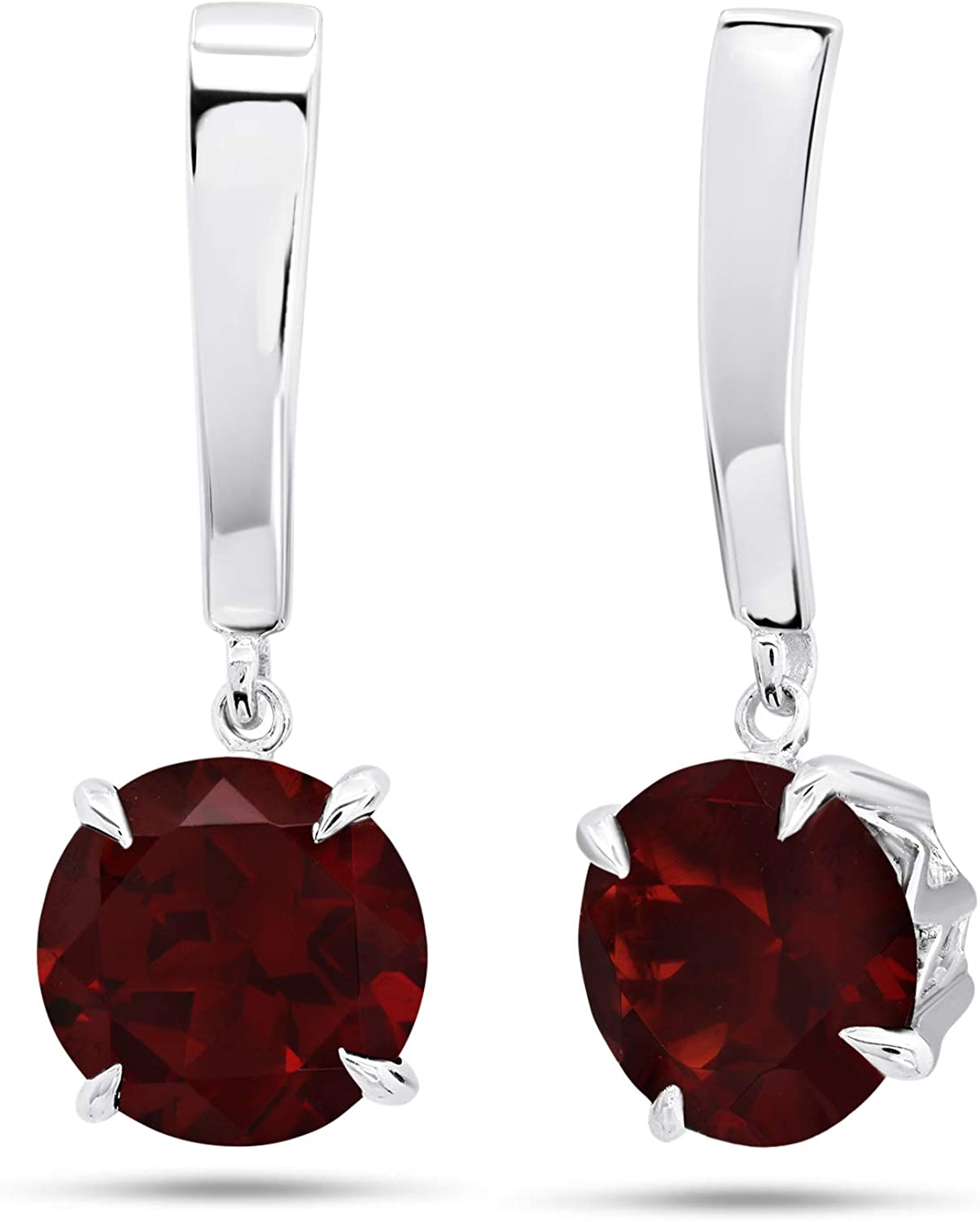 Nicole Miller Fine Jewelry - Sterling Silver with 8mm Round Cut Gemstone Dangle Drop Earrings
