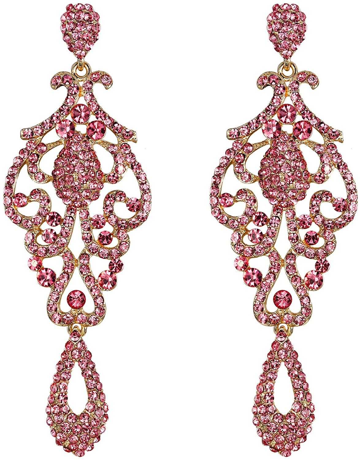 Flyonce Women's Crystal Wedding Vintage Flower Pattern Hollow Drop Chandelier Earrings Pink Gold-Tone
