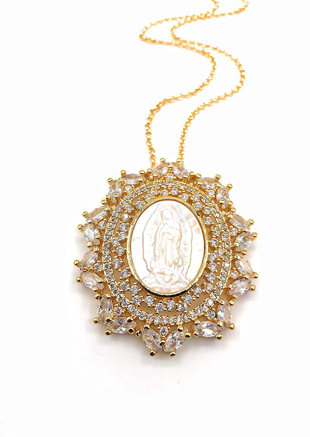 Mother of Pearl Guadalupe Medal Necklace 18K Gold Plated Chain 18