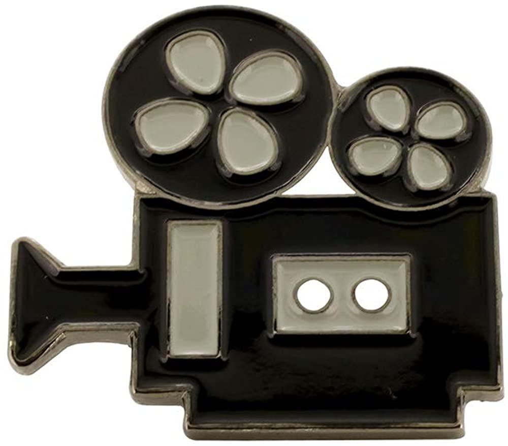 WIZARDPINS Classic Movie Camera Black Nickel Plated Enamel Diestruck Lapel Pin