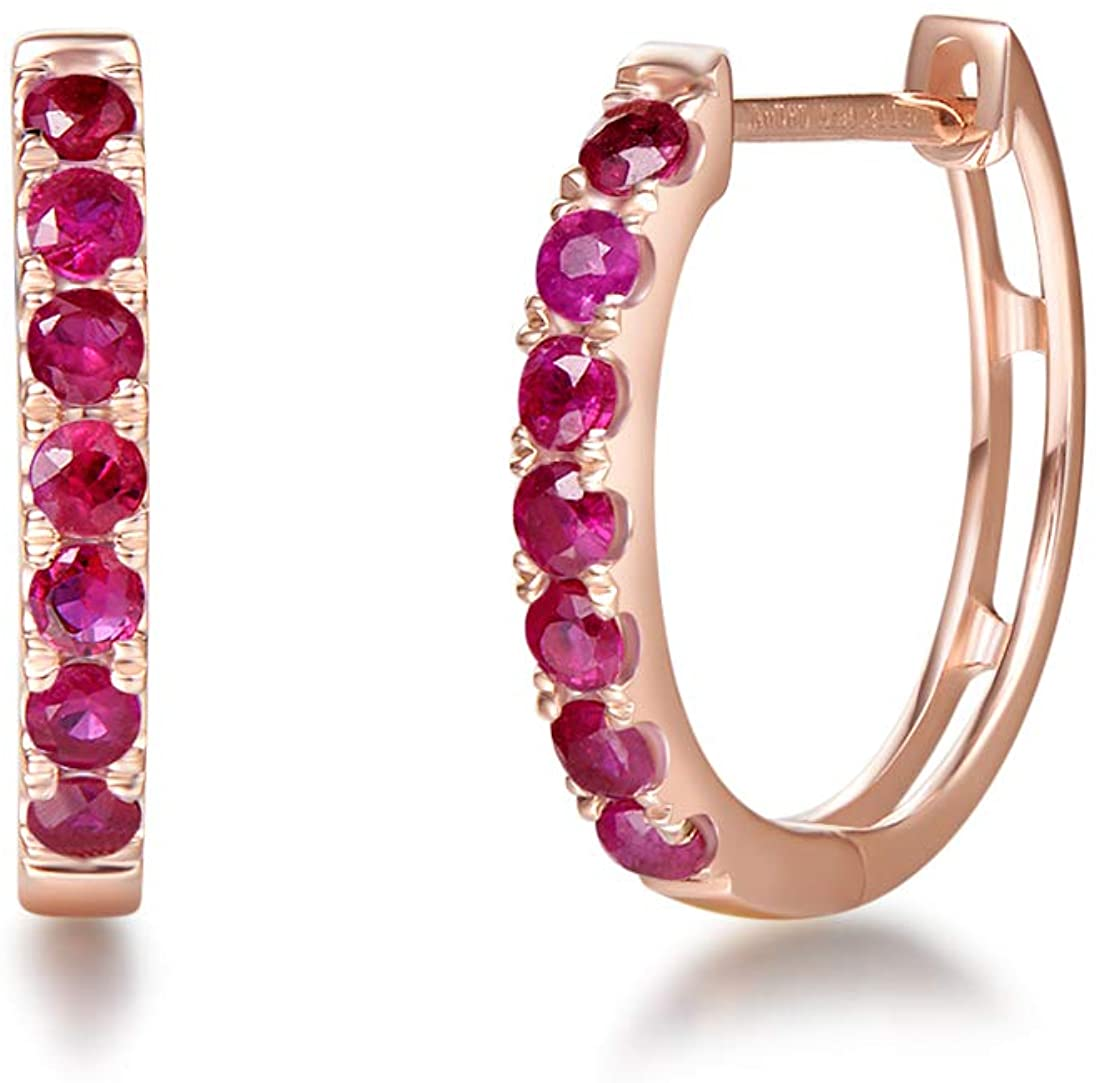 FANCIME 14k Solid Rose Gold 0.57cttw Genuine Ruby Small Huggie Hoop Earrings Fine Jewelry For Women Anniversary/Mother's Day Gift