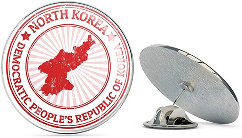 North Korea Flag Round Metal 0.75