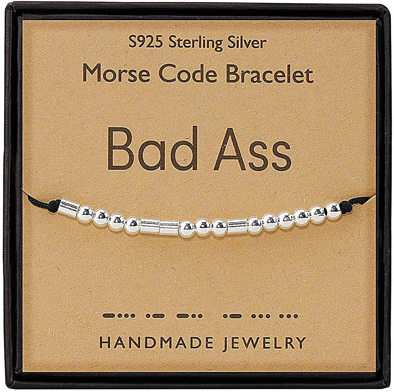 Gleamart Morse Code Bracelet 925 Sterling Silver Handmade Secret Message Beads Silk Cord Bangle Gift for Her