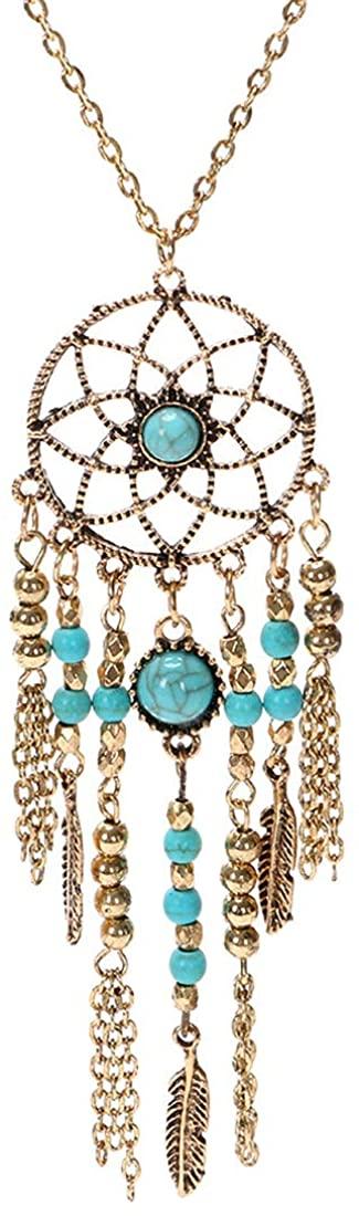 HULKBIDBV Vintage Pure Handmade Bohemian Necklace Crystal Opal Necklace