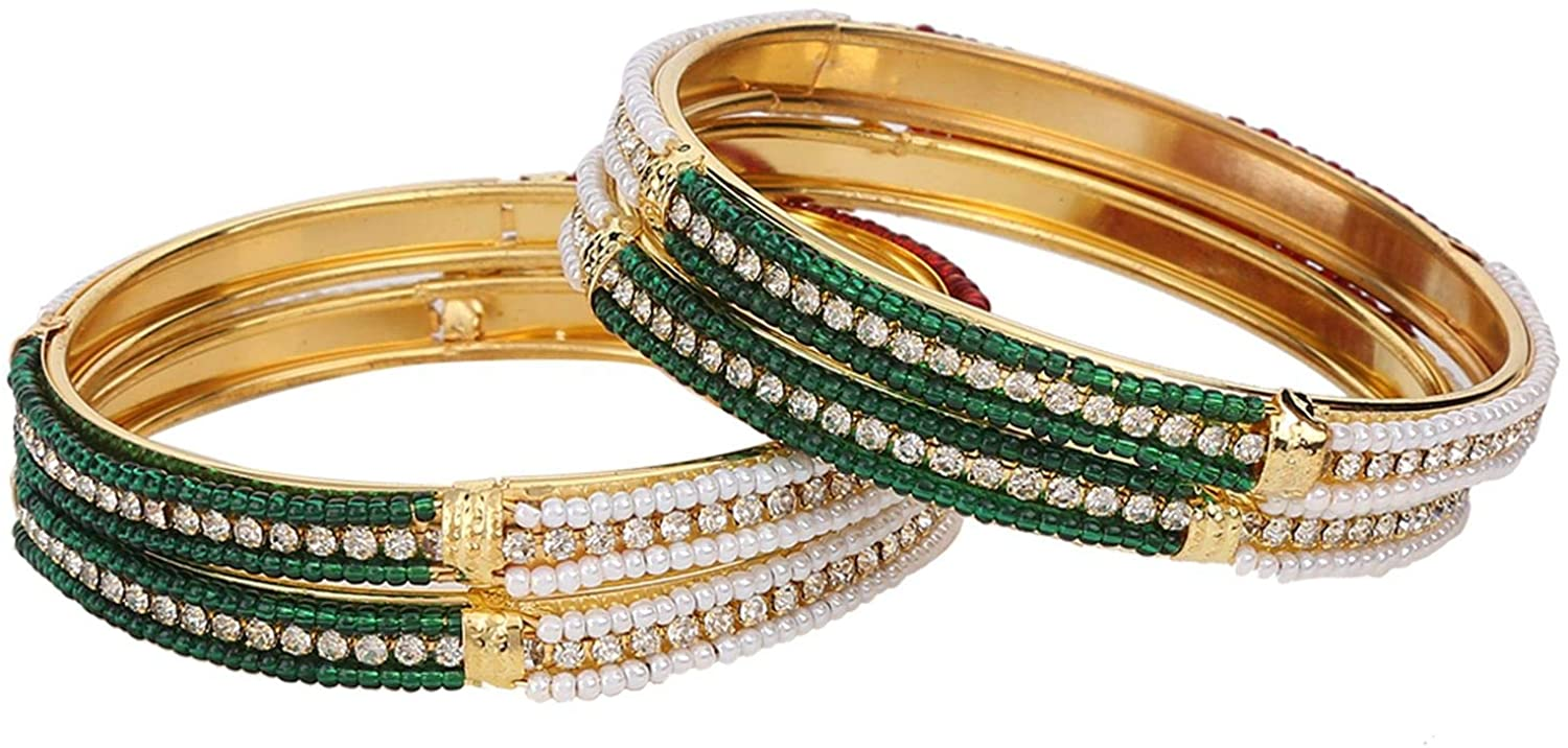 Efulgenz Indian Style Bollywood Traditional Gold Plated Faux Pearl Crystal Beads Wedding Bracelet Bangle Set Jewelry (4 Pc)