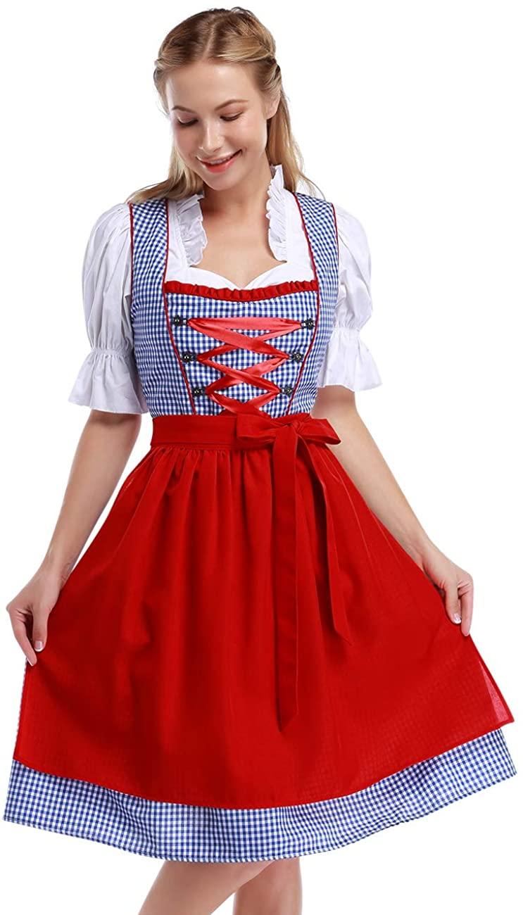 GloryStar Women's German Dirndl Dress Traditional Bavarian Oktoberfest Costumes for Halloween Carnival