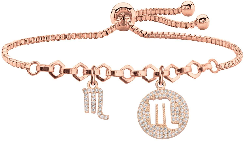 WSNANG Zodiac Bracelet for Women Fashion Jewelry Rose Gold Zodiac Sign Bracelet Astrology Birthday Gifts