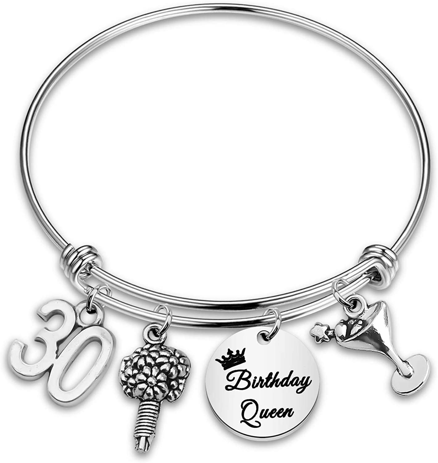 CENWA Birthday Gift Birthday Queen Bracelet 10th 12th 13th Sweet 16th 18th 21st 30th Expandable Bangle Gift for Women Girls