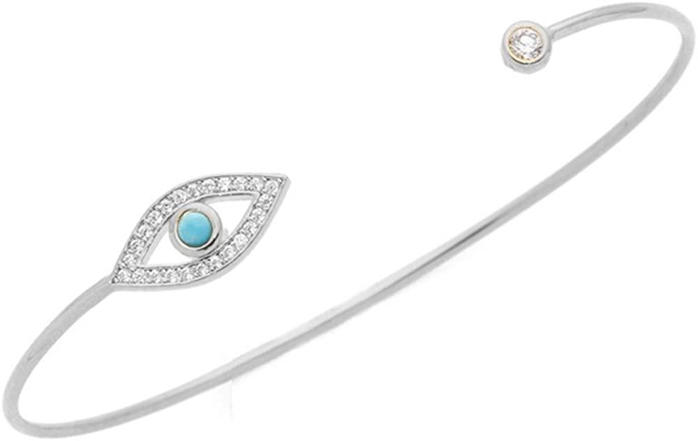 MUZHE Fashion Evil Eye Rhinestone Charm Open Bangle Bracelet for Women Girls