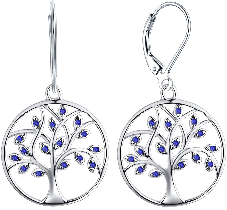 YL Dangle Drop Tree Earrings 925 Sterling Silver Tree of Life Leverback Earring Cubic Zirconia Created Emerald Green Jewelry