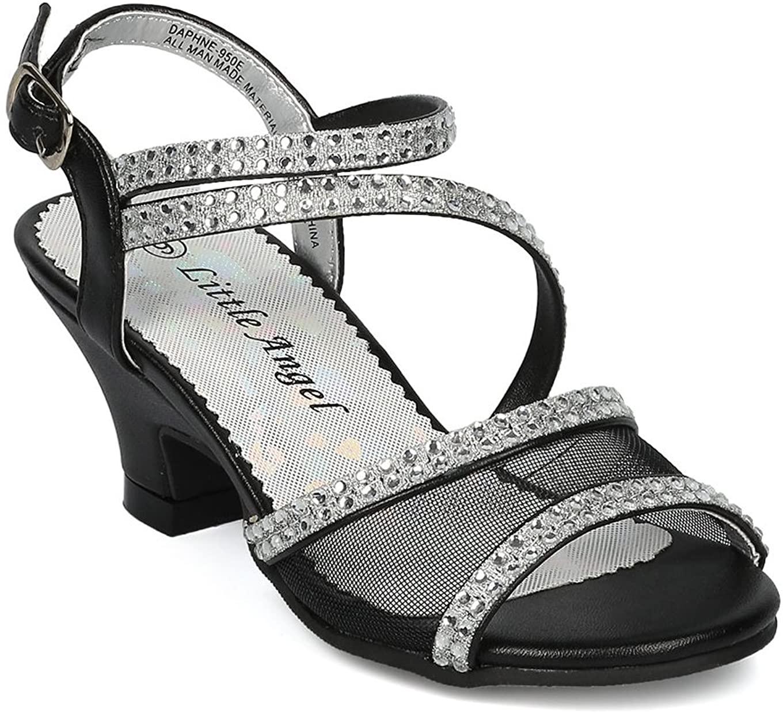 Alrisco Girls Open Toe Mesh and Rhinestone Strappy Kiddie Heel Sandal HC29 - Black Leatherette (Size: Toddler 4)