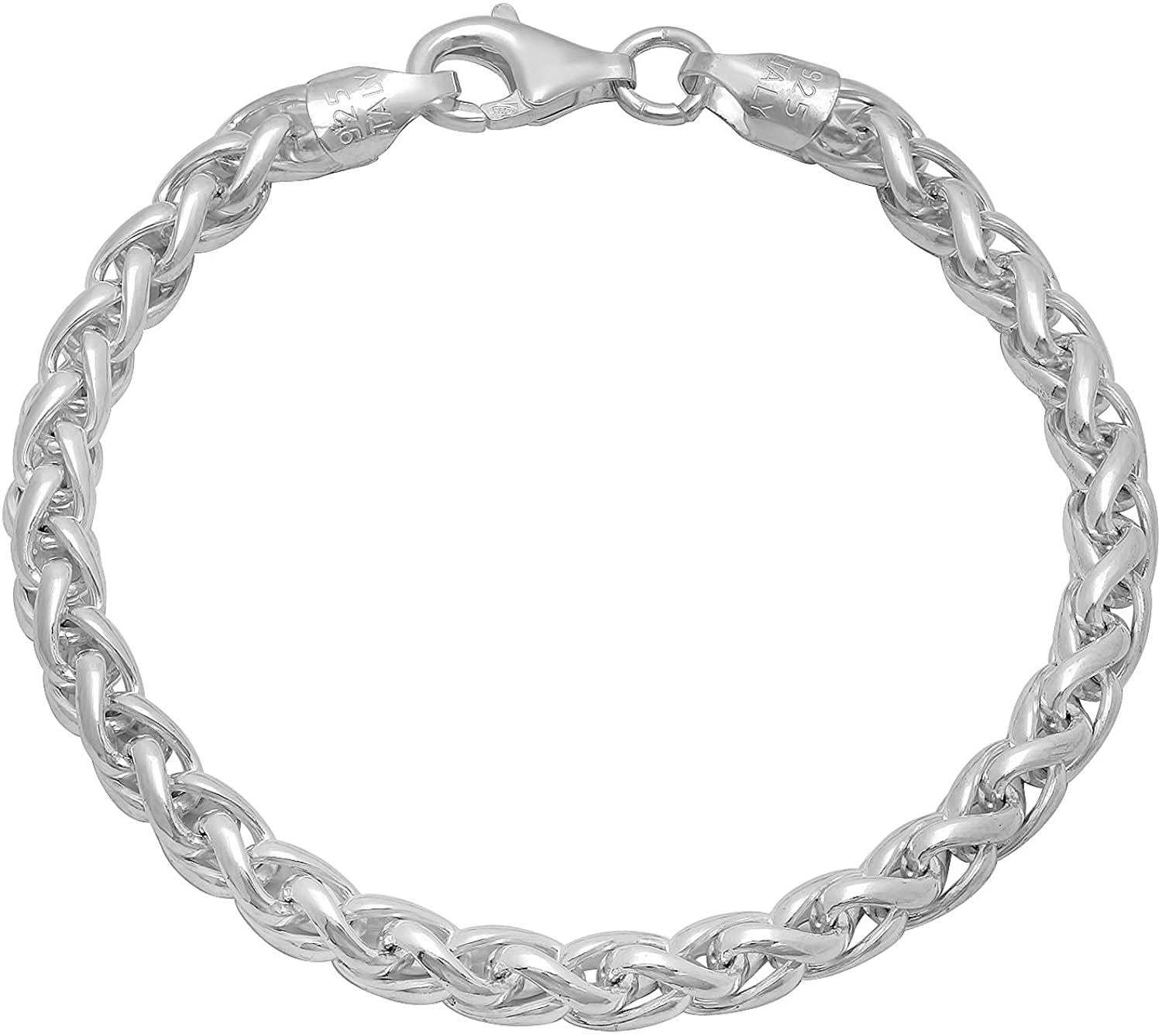 1mm-5mm High-Polished .925 Sterling Silver Braided Wheat Chain Necklace or Bracelet, 7'-30