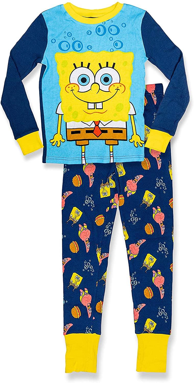SpongeBob SquarePants Boy's Long Sleeve 2 Piece PJ Set,100% Cotton,Navy,Size 8