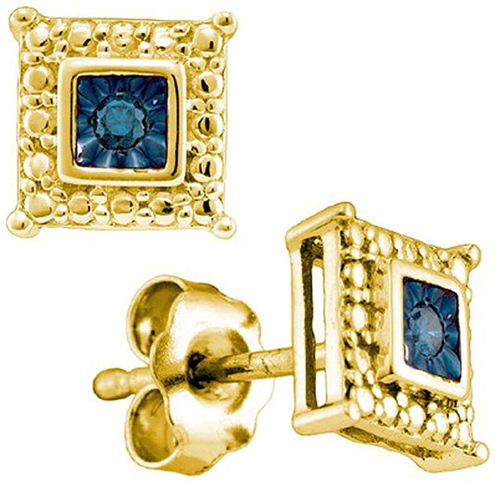Dazzlingrock Collection 0.05 Carat (Ctw) 18K Yellow Gold Plated Sterling Silver Blue Diamond Ladies Stud Earrings, Sterling Silver