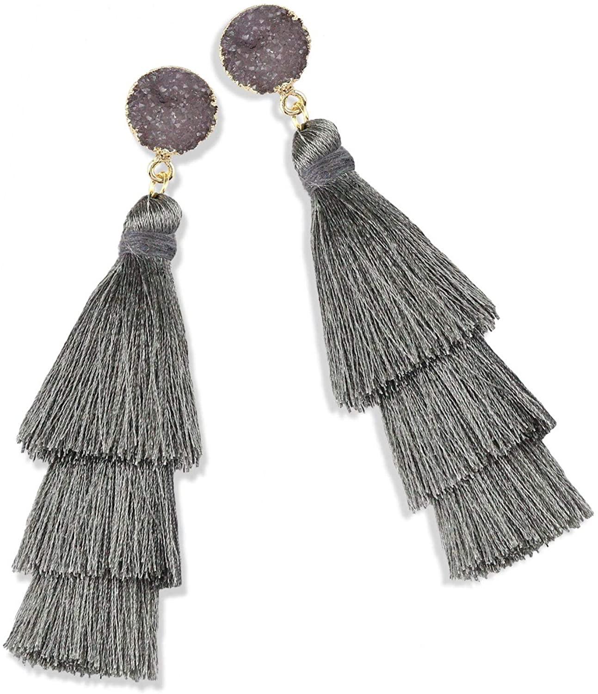 Zestlove Statement Tassel Earrings Drop Dangle Fringe Layered Handmade Bohemian Earrings for Women Girl Novelty Fashion Summer Accessories - 1 Pair with Gift Box
