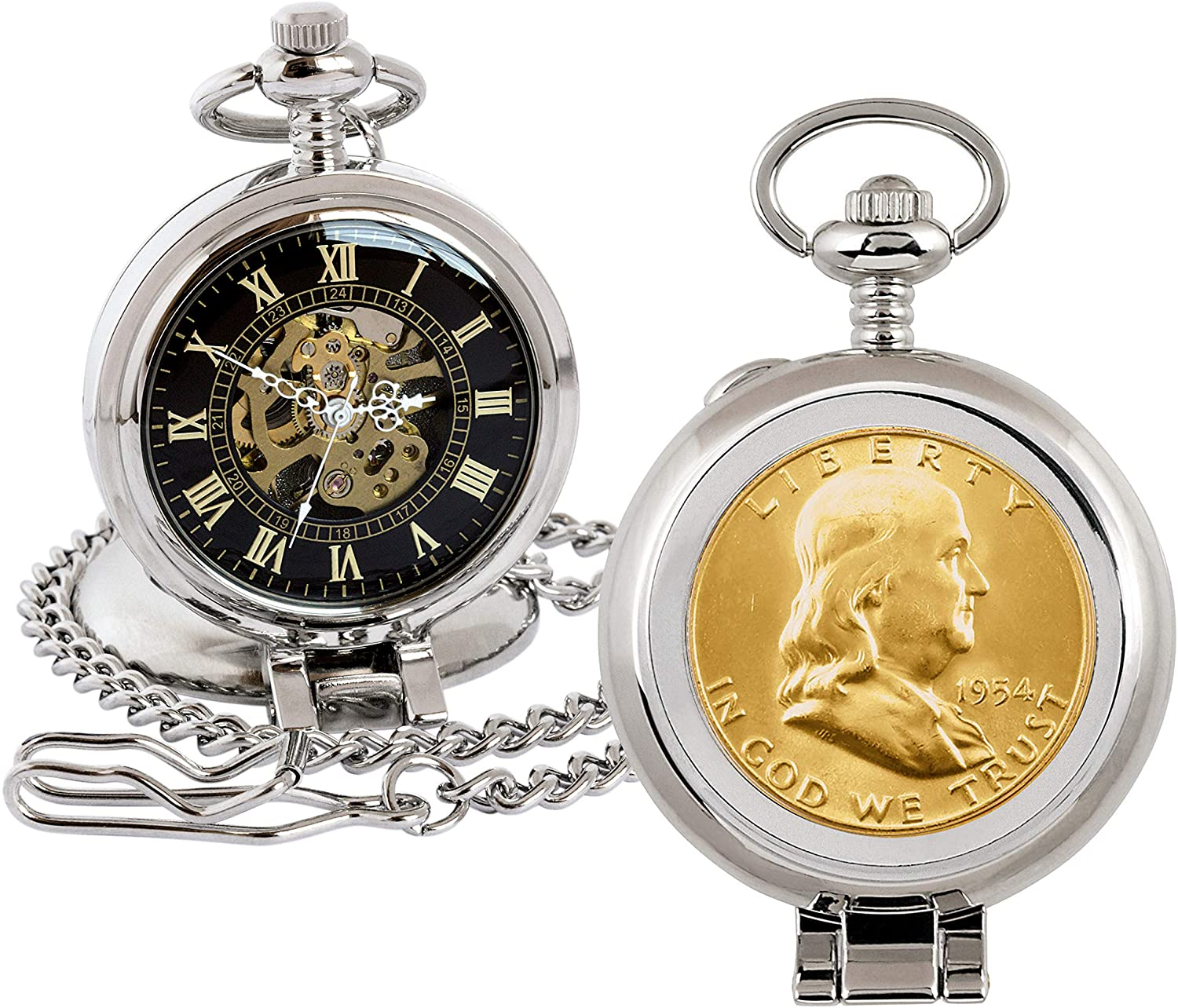 Coin Pocket Watch with Skeleton Quartz Movement | Gold Layered Silver Franklin Half Dollar | Genuine U.S. Coin | Sweeping Second Hand, Roman Numerals | Silvertone Case | Certificate of Authenticity
