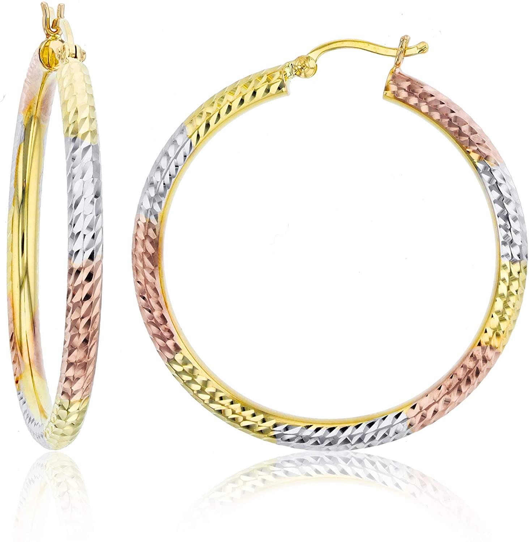 14k Gold Polished Diamond Cut Hoop Earrings for Women | 3mm Thick | Italian Gold Hoops | Diamond Cut Hoop Earrings | Secure Click-Top | Shiny Polished Earrings for Girls, 20mm-65mm