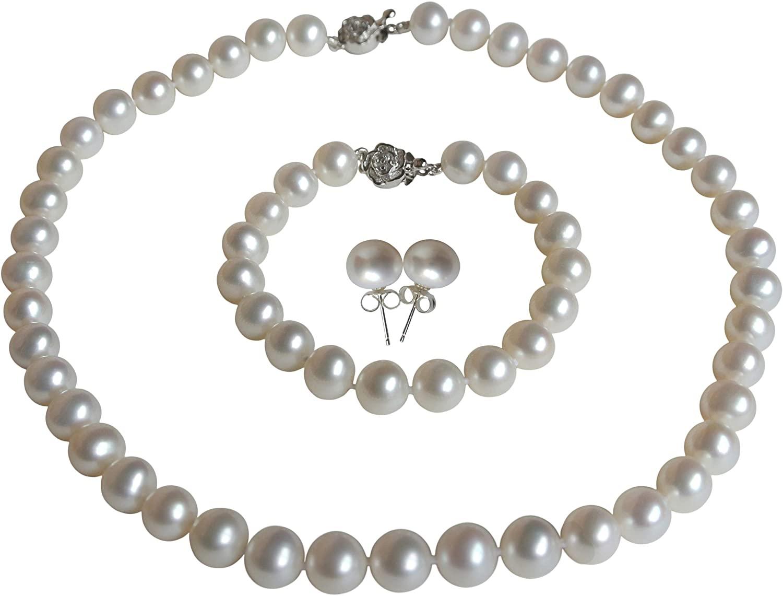 Pearl Romance II Round Pearl II White Pearl Necklace Bracelet & Earrings Set for Women 3 Piece Set Strand Stud Earring Pearl Jewelry Christmas Genuine Cultured Freshwater