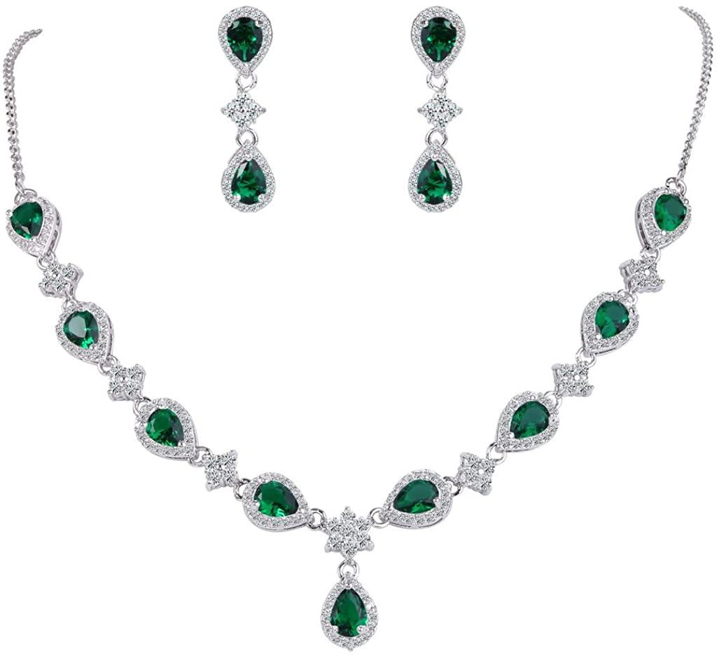 EleQueen Women's Silver-Tone Cubic Zirconia Teardrop Flower Bridal V-Necklace Jewelry Set Dangle Earrings