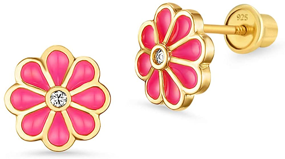 14k Gold Plated Enamel Red Flower Cubic Zirconia Girls Screwback Earrings with Sterling Silver Post
