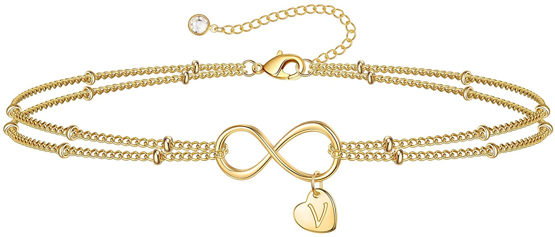 IEFSHINY Gold Tiny Dainty Bracelets for Women, Infinity Initial Bracelets Endless Love Symbol Satellite Chain Handmade Heart Initial Charm Handmade Bracelet for Best Friend Valentine Gifts for Wife