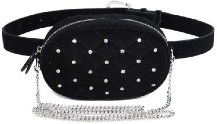 Waist Bag, Women Solid Casual PU Leather Fanny Pack Female Diamond-Studded Velvet Chain Shoulder Bag Ladies Multifunctional Crossbody Bag Velvet Black Bag with Chain