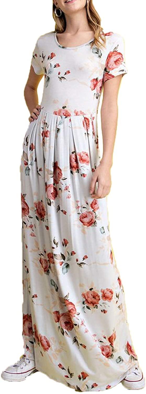HotStyleMark Women Elegant Short Sleeve Pocket Floral Maxi Dress