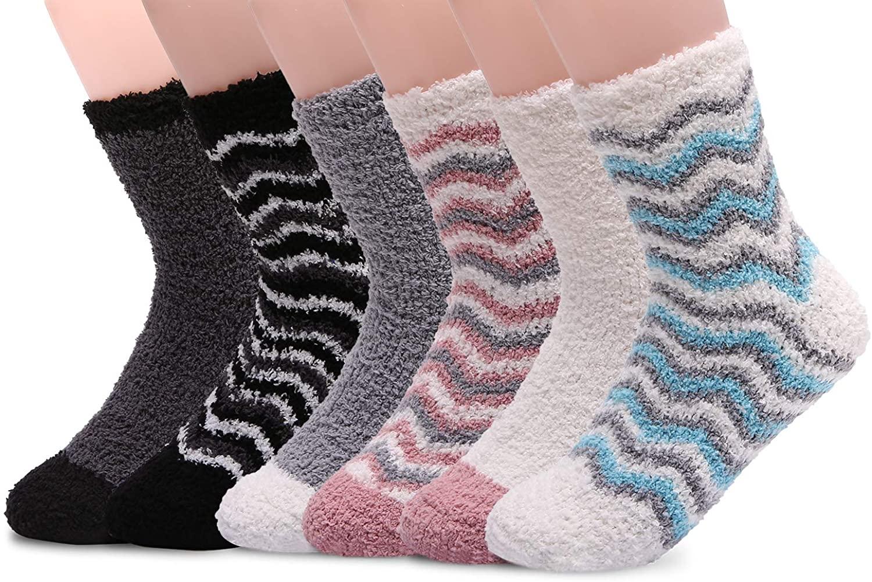 HELN Women Girls Super Soft Microfiber Slipper Socks Cozy Fuzzy Winter Warm Home Socks with Non Skid Grips 3/6 Pairs