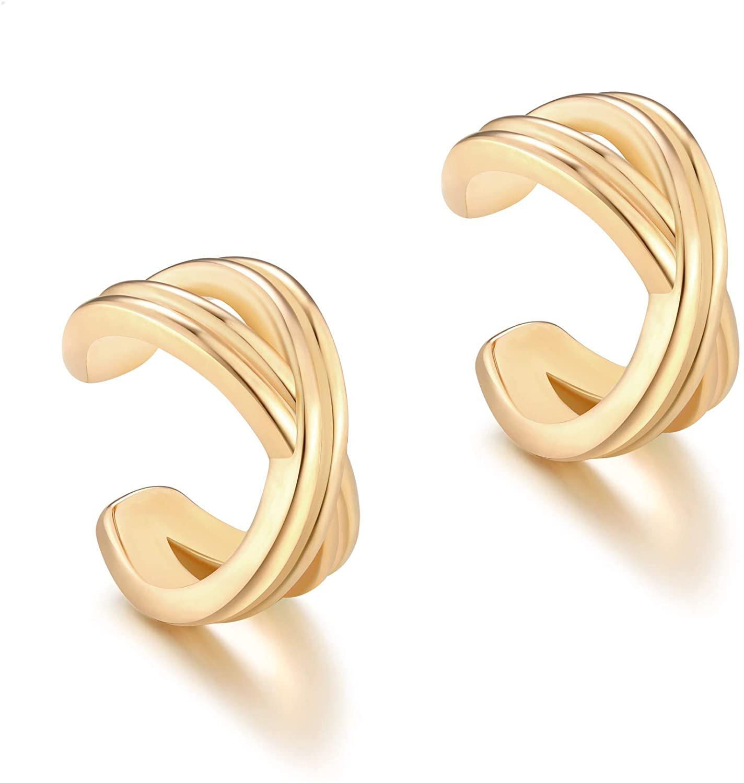 Valloey Rover 14K Gold Plated Wide Cuff Earring Clip On Cartilage Earrings Huggie Ear Cuff Gold Earrings for Women