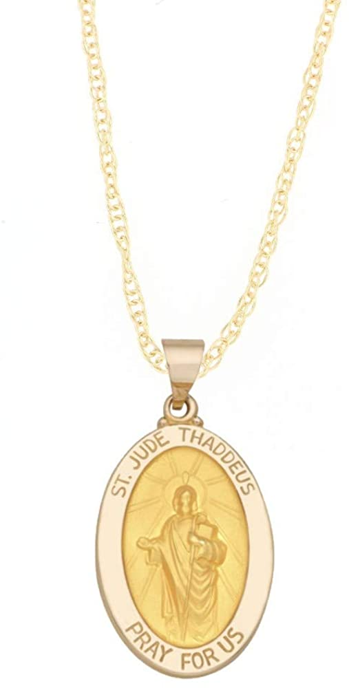 14k Yellow Gold and White Gold Polished Saint Jude Thaddeus Oval Pendant Medal Necklaces