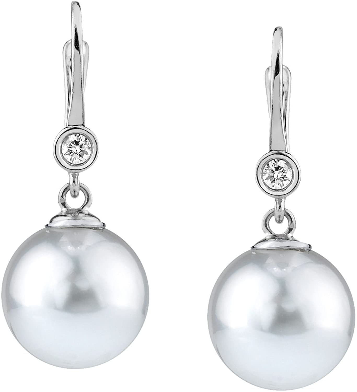 THE PEARL SOURCE 14K Gold Round Genuine White Freshwater Cultured Pearl & Diamond Michelle Earrings for Women