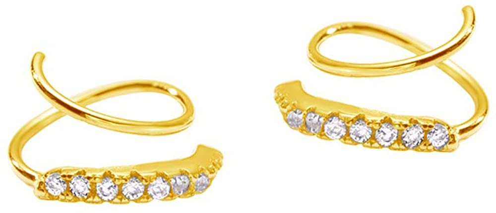 Cubic Zirconia Ear Climber Crawler Cuff Hoop Earrings Sterling Silver Fake CZ Crystal Cartilage Wrap Piercing Earring for Women Girls Hypoallergenic