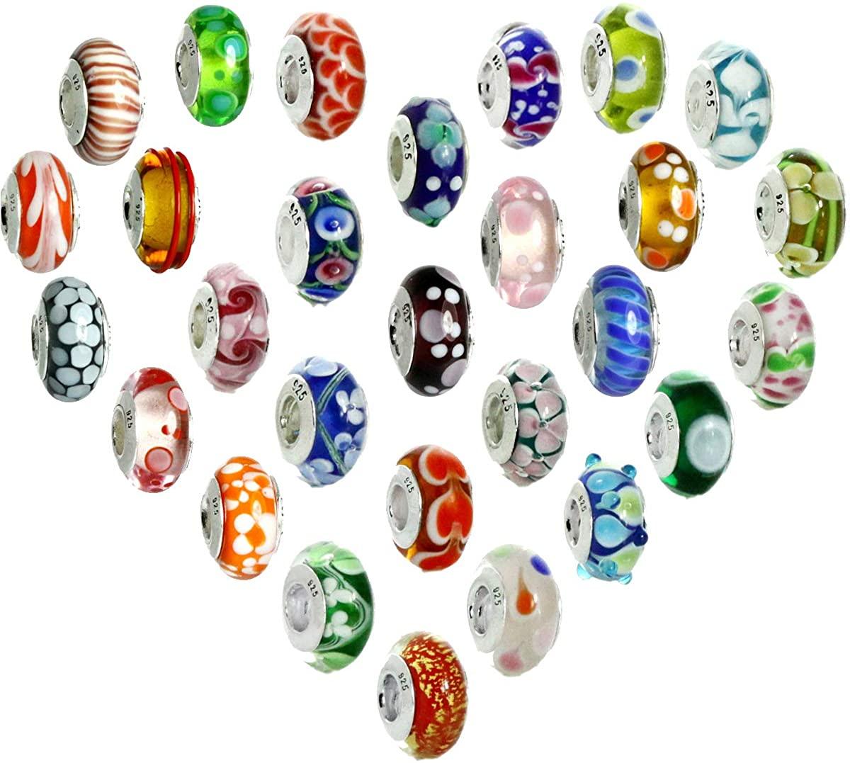 6PCS Murano Glass Charms Beads, Random Sent Assortment of Same or Mixed Patterns, for Bracelets, 925 Silver Sterling
