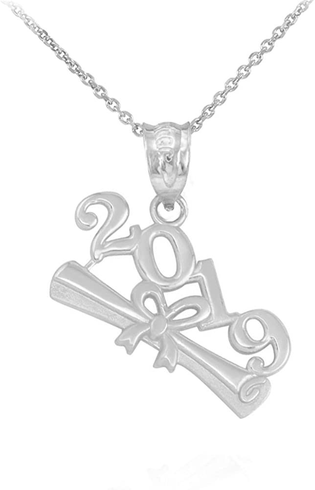 Polished 925 Sterling Silver 2019 Graduation Diploma Pendant Necklace