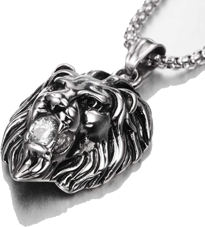 WOWEI Mens Lion Head Pendant Black Gold Silver with Shiny Shiny CZ Diamond, Titanium Steel Vintage Necklace with 30 Chain