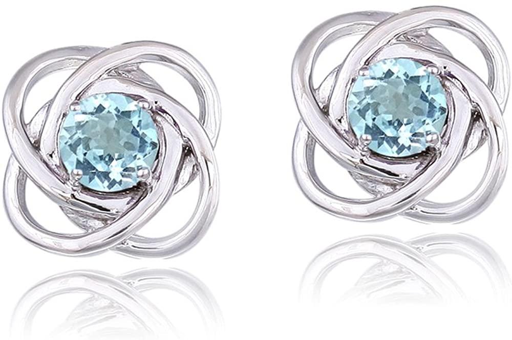 Sterling Silver Amethyst or Blue Topaz Love Knot Stud Earrings